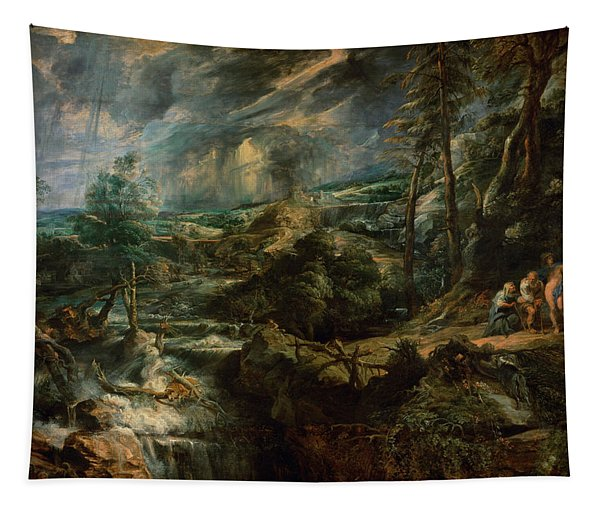 Landscape With Philemon And Baucis C.1625 Oil On Panel Tapestry