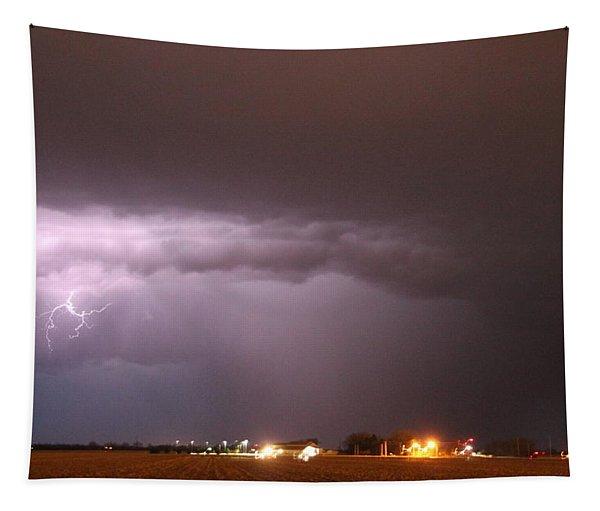 Tapestry featuring the photograph Late Evening Nebraska Thunderstorm by NebraskaSC