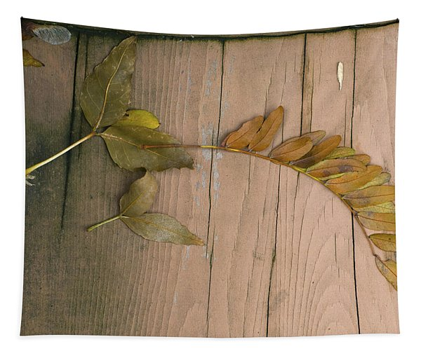 Leaves On A Wooden Step Tapestry