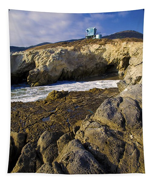 Lifeguard Tower On The Edge Of A Cliff Tapestry