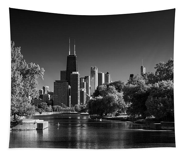 Lincoln Park Lagoon Chicago B W Tapestry