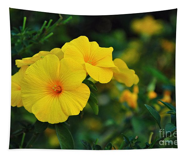 Little Yellow Trumpets Tapestry