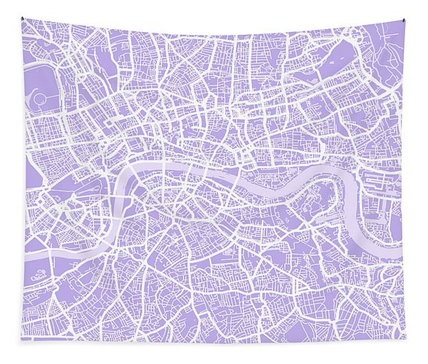 London Map Lilac Tapestry