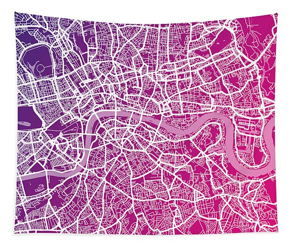 London Map Red Tapestry