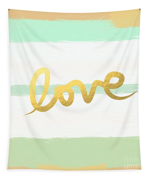 Love In Mint And Gold Tapestry