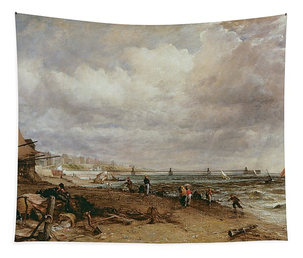 Marine Parade And Old Chain Pier, 1827 Oil On Canvas Tapestry