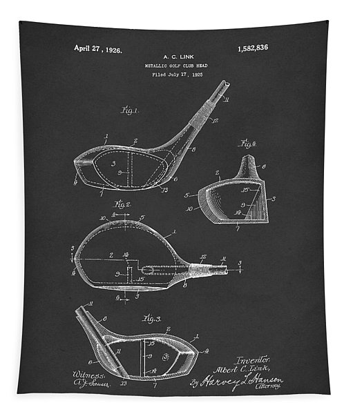 Metallic Golf Club Head 1926 Patent Art Black Tapestry