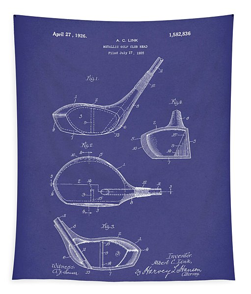 Metallic Golf Club Head 1926 Patent Art Blue Tapestry