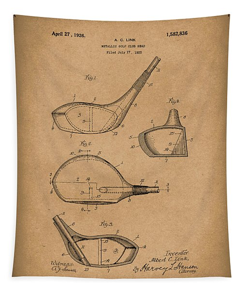 Metallic Golf Club Head 1926 Patent Art Brown Tapestry