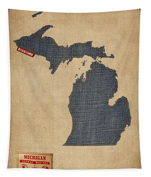 Michigan Map Denim Jeans Style Tapestry