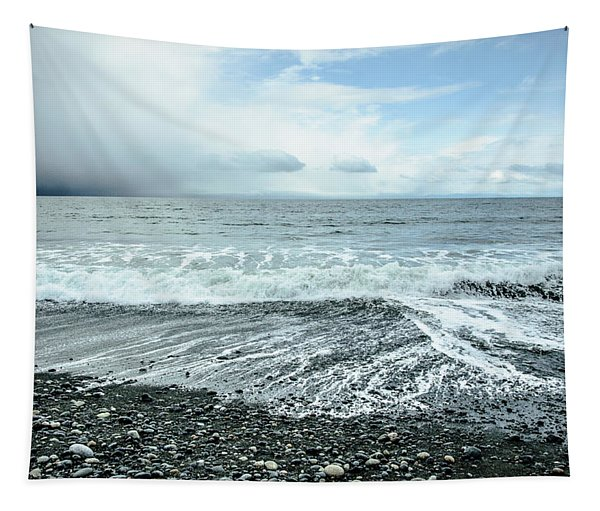 Moody Waves French Beach Tapestry