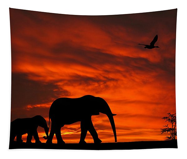 Mother And Baby Elephants Sunset Silhouette Series Tapestry