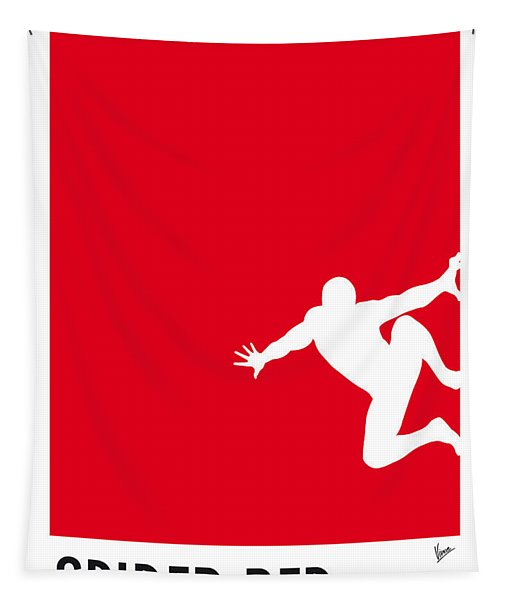 My Superhero 04 Spider Red Minimal Poster Tapestry