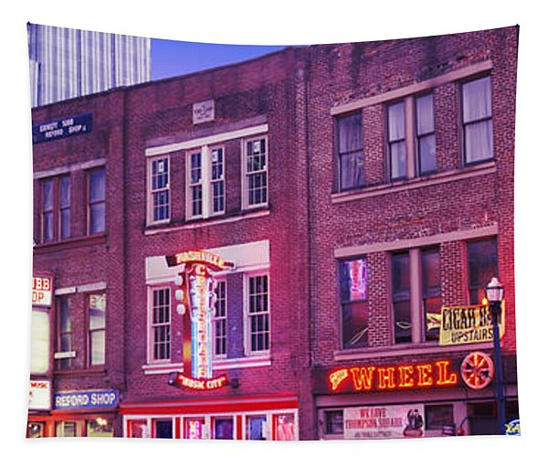 Neon Signs On Buildings, Nashville Tapestry