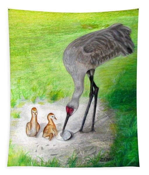 New Hatchlings Sandhill Crane Chicks Tapestry