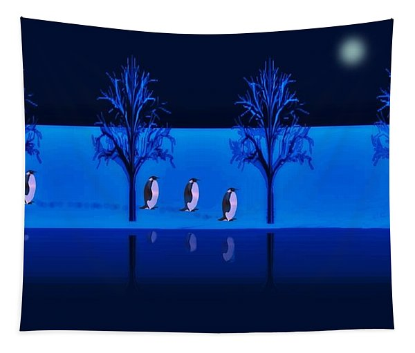 Night Walk Of The Penguins Tapestry