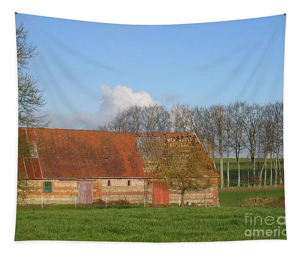 Normandy Storm Damaged Barn Tapestry