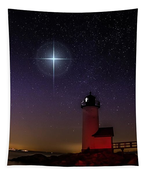 Star Over Annisquam Lighthouse Tapestry