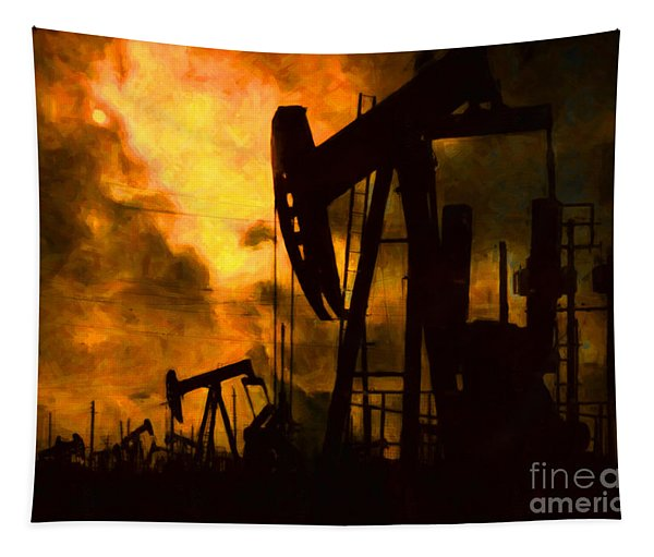 Oil Pumps Tapestry