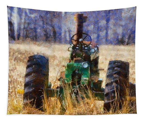Old Green Tractor On The Farm Tapestry