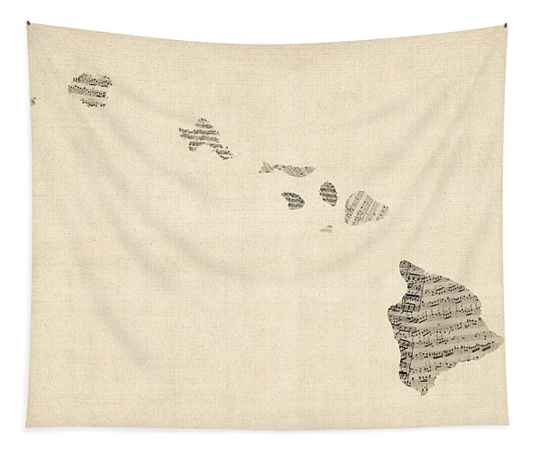 Old Sheet Music Map Of Hawaii Tapestry