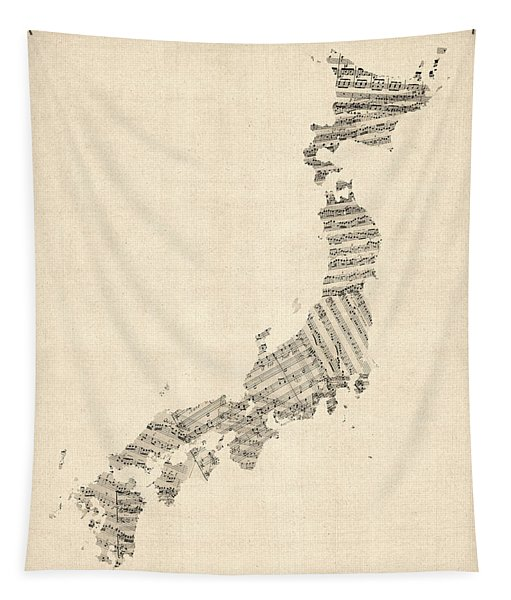 Old Sheet Music Map Of Japan Tapestry