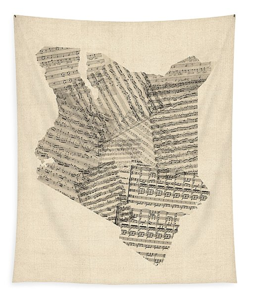 Old Sheet Music Map Of Kenya Map Tapestry