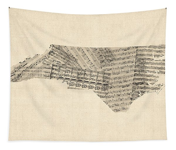 Old Sheet Music Map Of North Carolina Tapestry