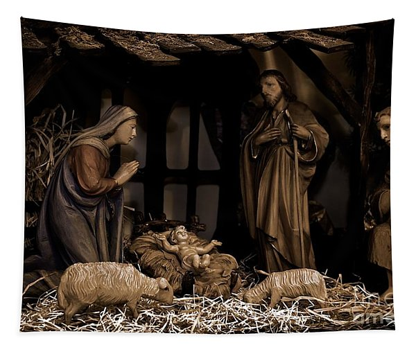 Olive Wood Nativity  Tapestry