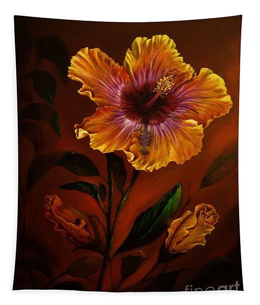 Orange Painted Hibiscus Tapestry