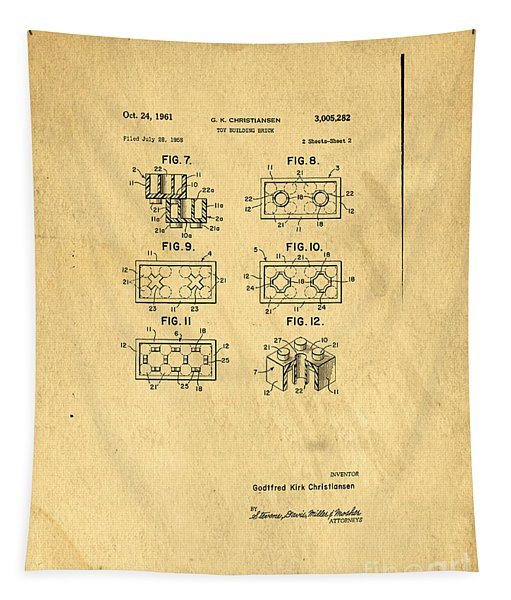 Original Patent For Lego Toy Building Brick Tapestry