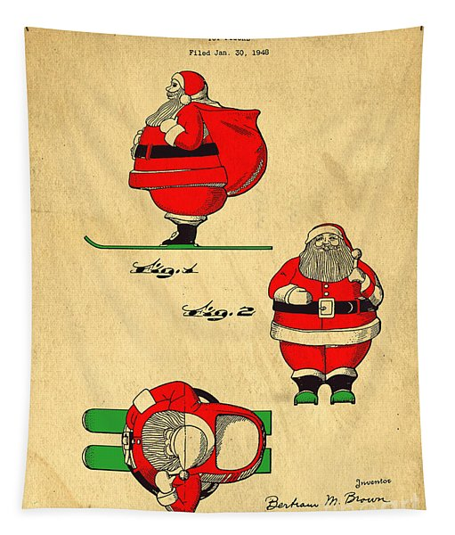 Original Patent For Santa On Skis Figure Tapestry