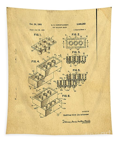 Original Us Patent For Lego Tapestry