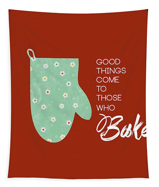 Oven Mitt With Red Tapestry