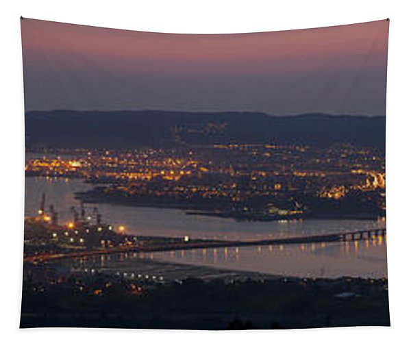 Panorama Of Ferrol From Mount Marraxon Galicia Spain Tapestry