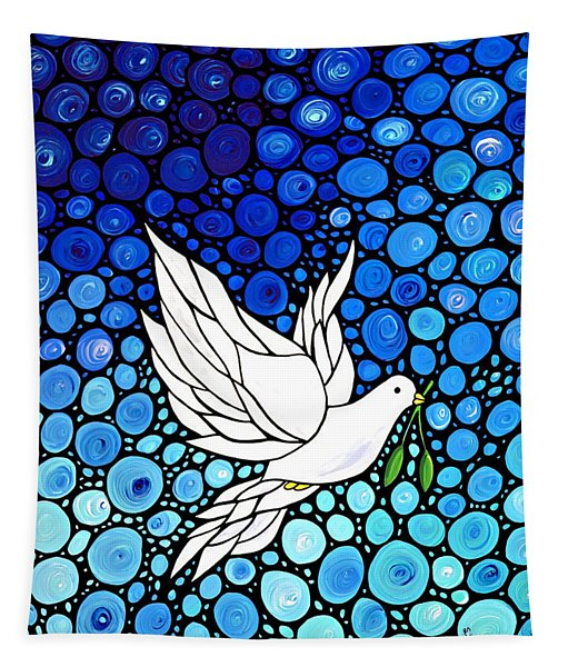 Peaceful Journey - White Dove Peace Art Tapestry
