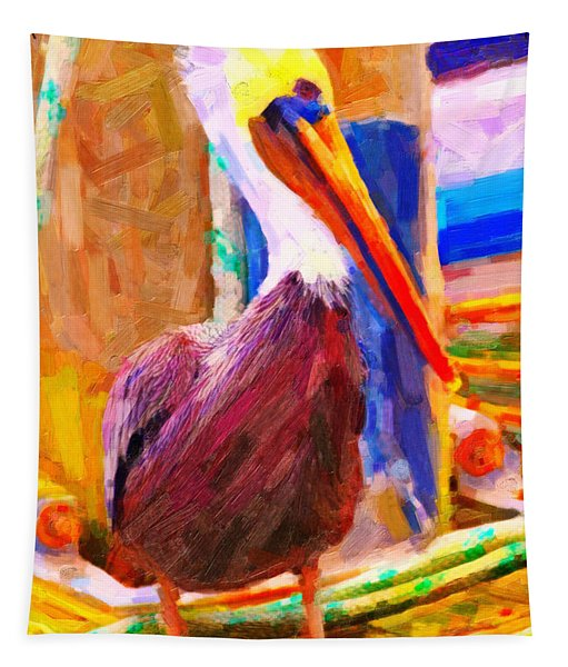 Pelican On The Dock Tapestry