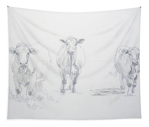 Pencil Drawing Of Three Cows Tapestry