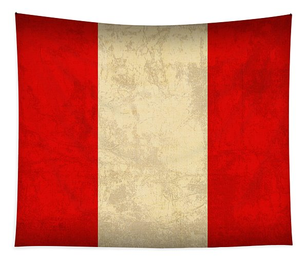 Peru Flag Vintage Distressed Finish Tapestry