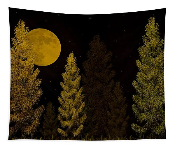 Pine Forest Moon Tapestry