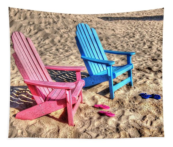 Pink And Blue Beach Chairs With Matching Flip Flops Tapestry