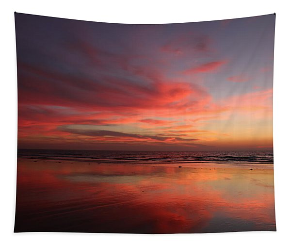 Tapestry featuring the photograph Ocean Sunset Reflected  by Christy Pooschke