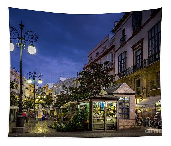 Plaza De Las Flores Cadiz Spain Tapestry