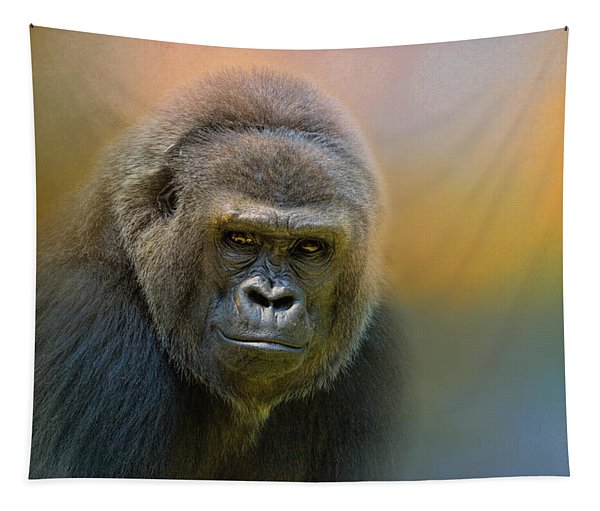 Portrait Of A Gorilla Tapestry