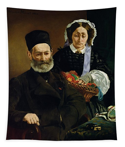 Portrait Of Monsieur And Madame Auguste Manet, 1860 Oil On Canvas Tapestry