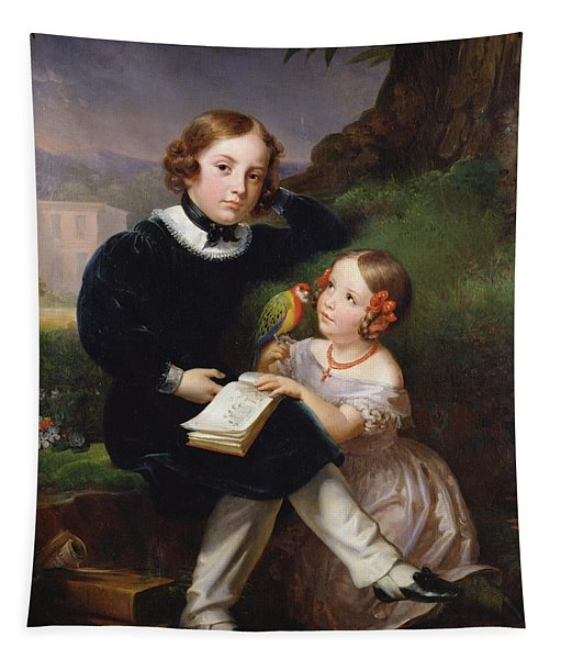 Portrait Of The Children Of Pierre-jean David Dangers Oil On Canvas Tapestry