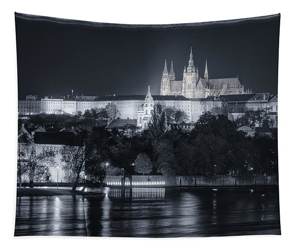 Prague Castle At Night Tapestry