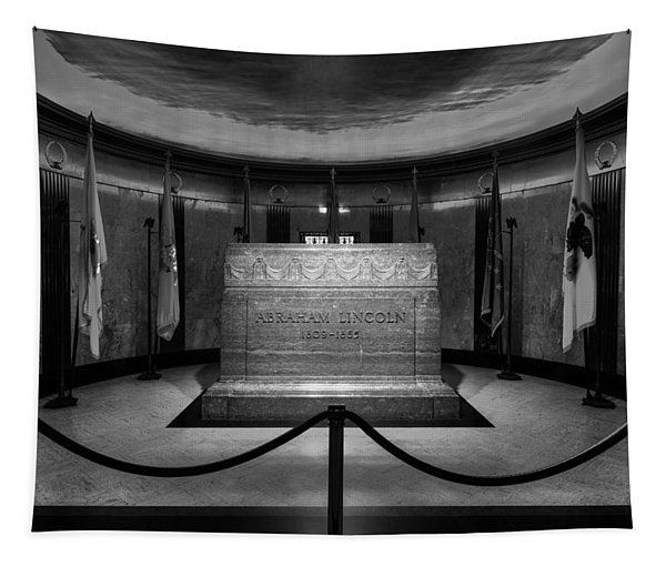 President Lincoln Tomb B W Tapestry