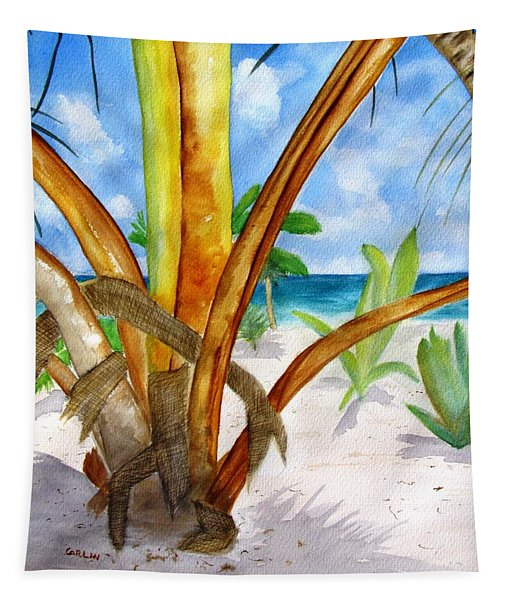 Punta Cana Beach Palm Tapestry