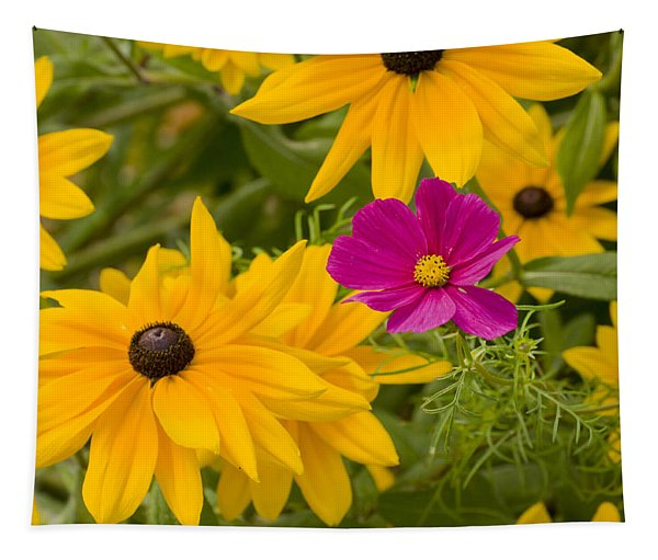 Purple And Yellow Flowers Tapestry